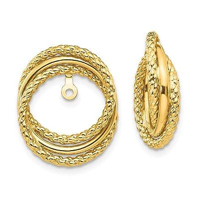 14k Yellow Gold Twisted Fancy Post Earrings