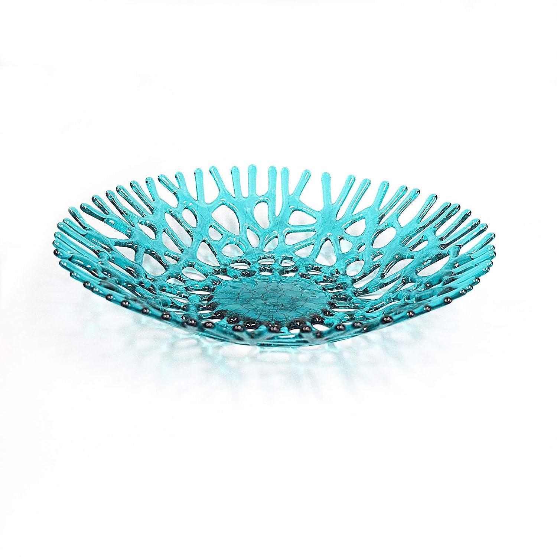 Lacy Glass Art Sea Coral Fruit Bowl Centerpiece in Aqua Blue Green
