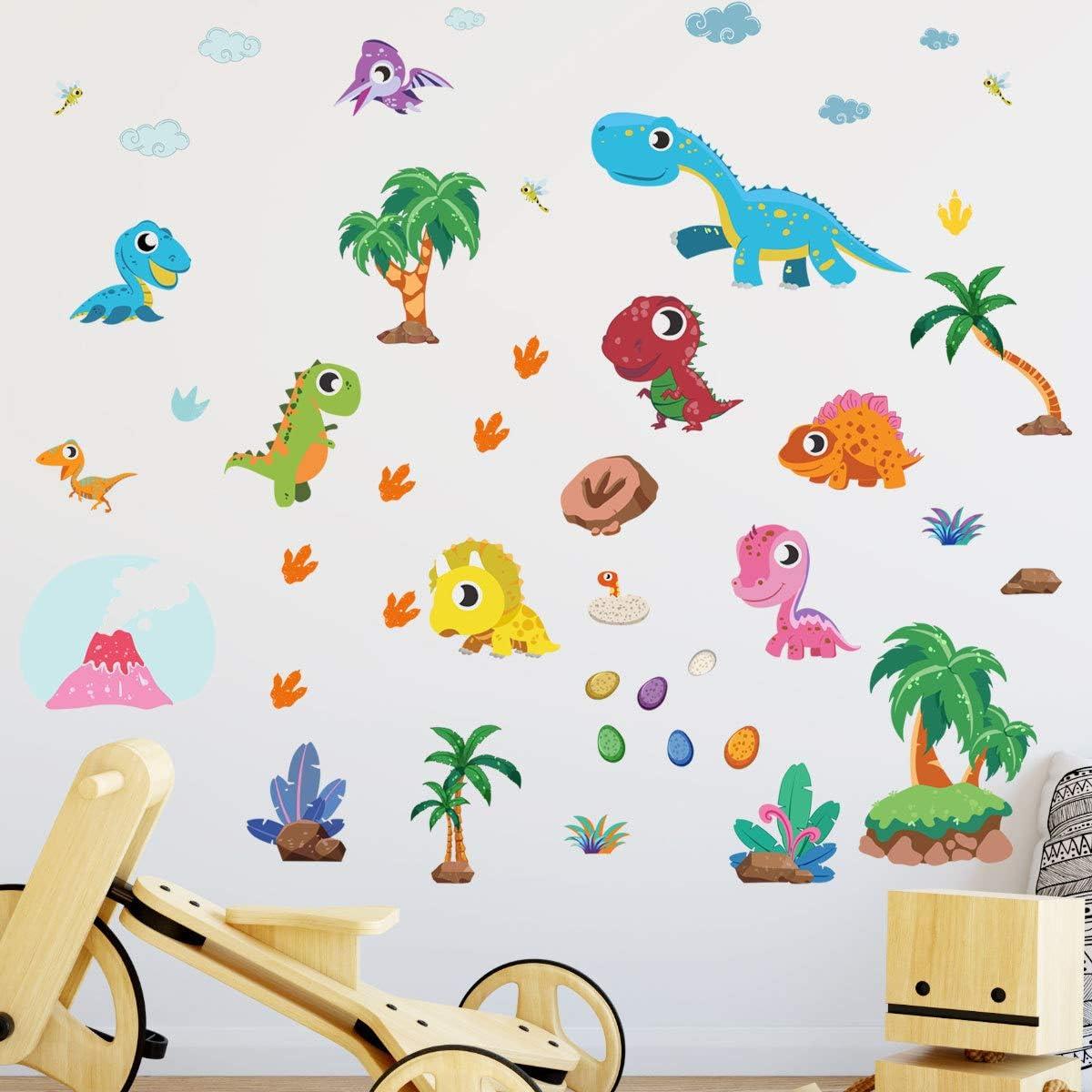 NPNG Nursery Cute Dinosaur Coconut Tree Decor Wall Decor Art Baby Room Bedroom Decoration Children Gift Dorm Room Wall Sticker