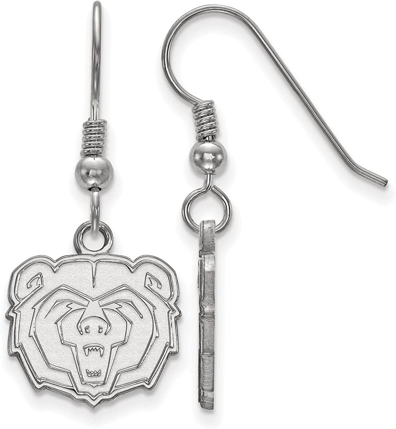 925 Sterling Silver Rhodium-plated Laser-cut Missouri State University Small Dangle Earrings