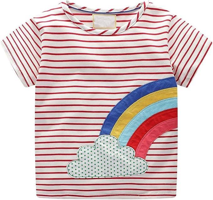 LENGIMA Arco Iris Impresión Bebé Chicas Camiseta Niños Raya tee ...