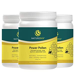 Naturebee Potentiated Power Pollen 3 x 200 Capsules Supply. Bee Pollen