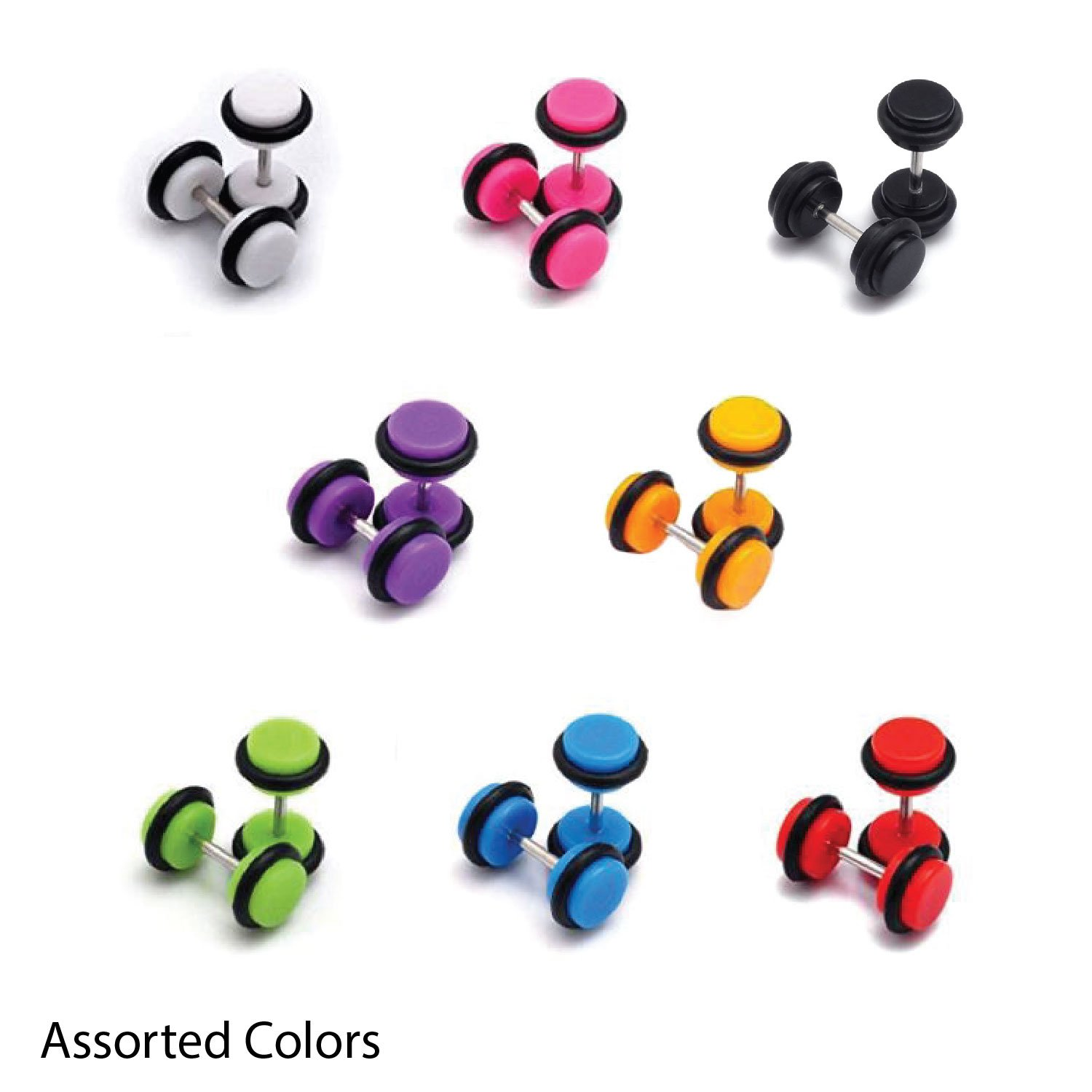 Amazon: Earrings Lot Of 14 Pieces Multicolor Acrylic Fake Plugs Kit 0g  Gauges Look (7 Pairs): Jewelry