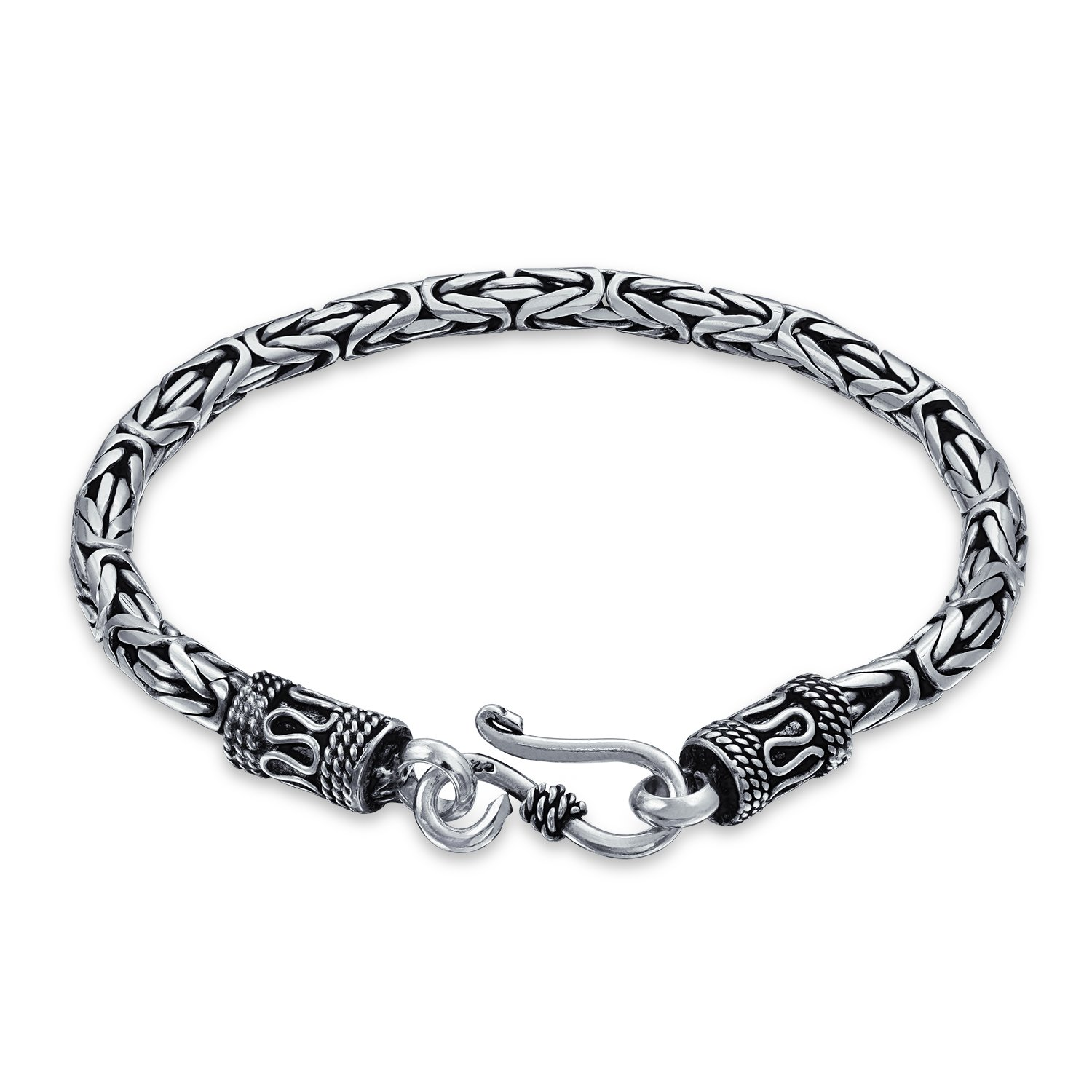 Bali Byzantine Chain Link Bracelet Eye And Hook Antiqued 925 Sterling Silver For Women For Men Bling Jewelry HY-B0-92R-8