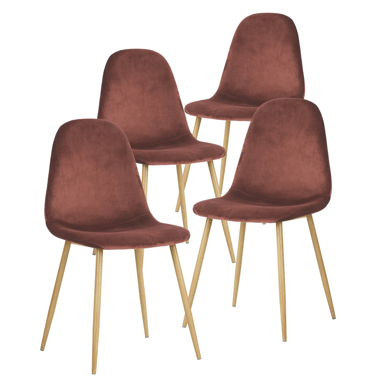GreenForest Dining Chairs,Elegant Velvet Back and Cushion, Mid Century Modern Side Chairs Set of 4,Rose