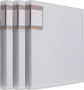 DEKIRU Art Portfolio Books - 40 Pockets (3 Packs) • Clear Folders File • Presentation Folders • Office Folders • Sheets Protector Transparent Sleeves • White Covers • Organizer Folder • US Letter Size