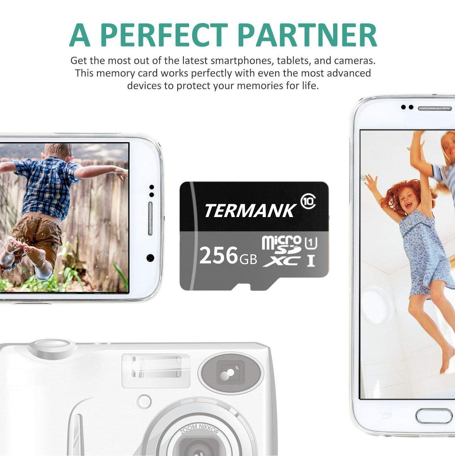 TERMANK 256GB Micro SD Card Memory Card with Free Adapter, High Speed Class 10 SDXC Card for Memory Expansion