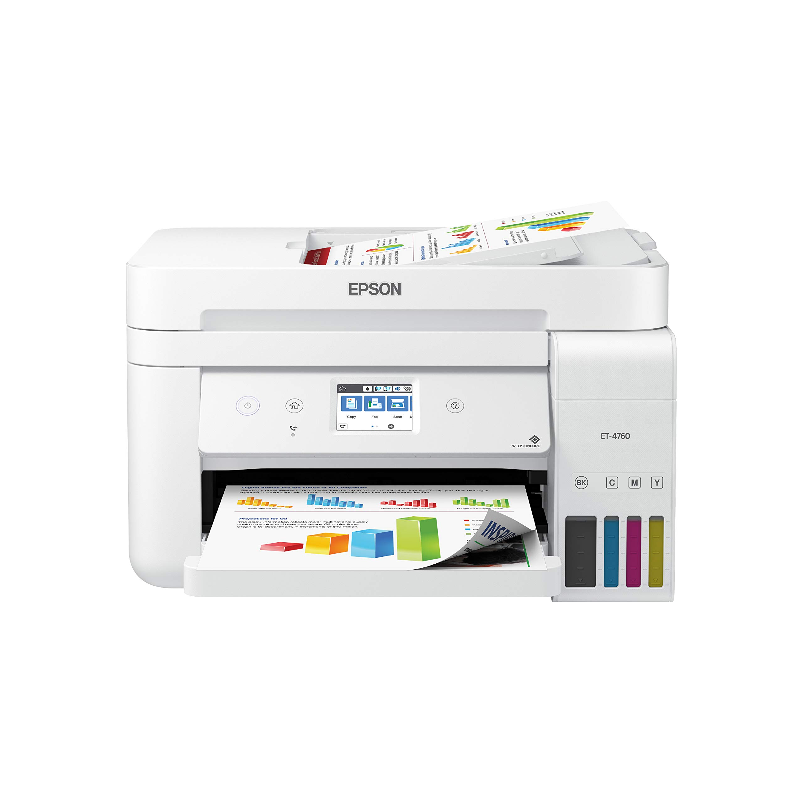 Epson EcoTank ET-4760 Wireless Color All-in-One Cartridge-Free Supertank Printer with Scanner, Copier, Fax, ADF and Ethernet - White by Epson