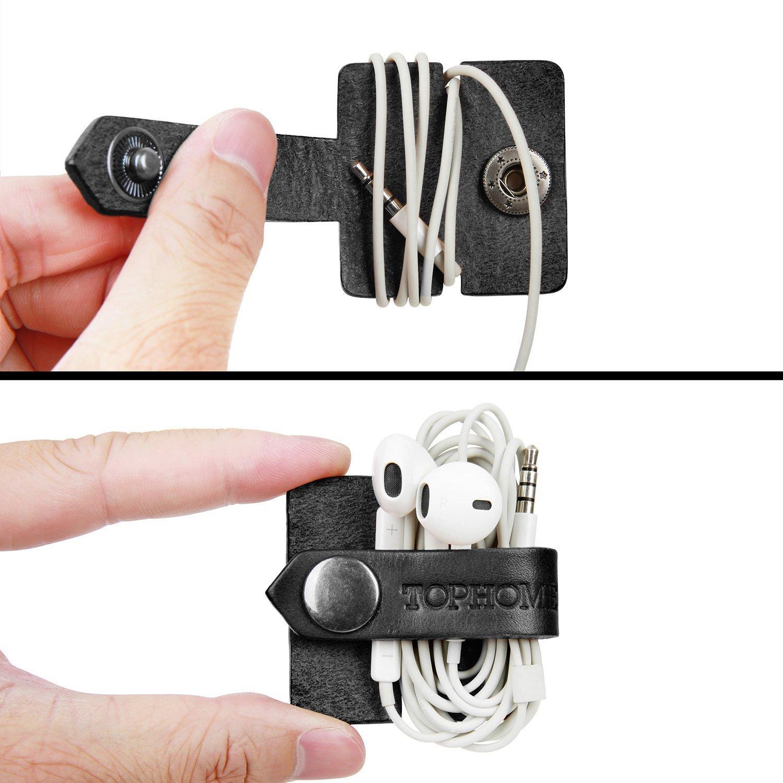 TOPHOME Cable de los Auriculares Bobinadora Cable Devanaderas Organizadores de Cable ParaClips de Cable USB,Cable Winder Tidy Wrap Carrete,Amarillo