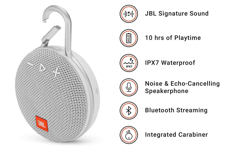 JBL Clip 3 Altavoz inalámbrico portátil con Bluetooth - Parlante resistente al agua (IPX7) - 10h de música continua - Blanco: Amazon.es: Electrónica