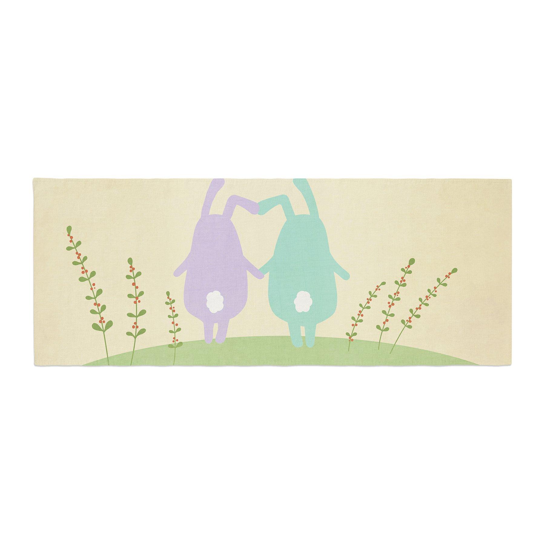 Kess InHouse Cristina bianco Design Cute Bunnies Beige Animals Bed Runner, 34'' x 86''