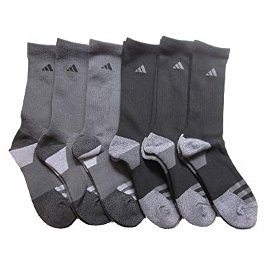 adidas Men's Athletic Crew Socks (6-Pack) (Dark Grey/Black) Shoe Size 6-12: Clothing