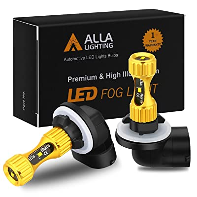 Alla Lighting 889 881 LED Fog Lights Bulbs Newest 3000lm Extreme Super Bright 898L, 6K Xenon White: Automotive