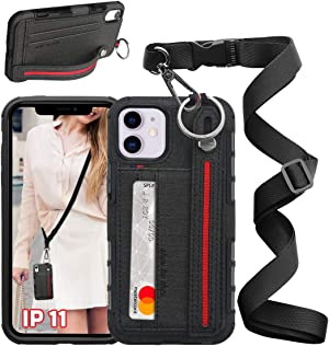 UKON Phone Lanyard Case Phone Necklace Case Adjustable Crossbody Lanyard Case Detachable Phone Tether with Card Slot and Stretchable Finger Kickstand Case for iPhone Series