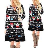 XILALU Women Christmas Printed Lace Dress Ladies Long Sleeve New Mini Dress