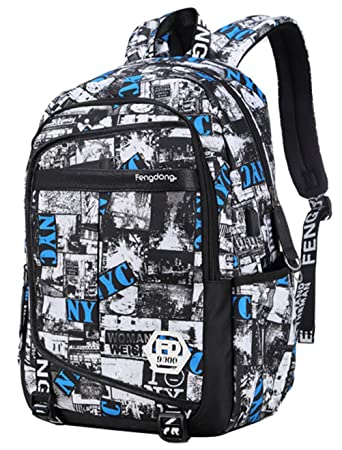 Teenage Boys Graffiti Backpack Laptop Bag for School College  Casual Hiking  Travel (Black 65a8d5d5e5
