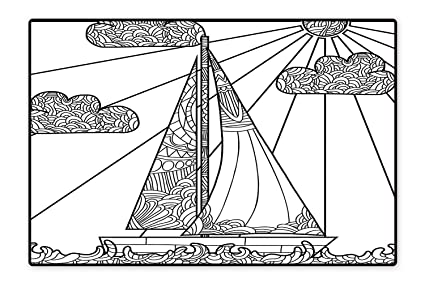 Amazon com: Area Rug Doodle Boat Floating on Waves Ornate
