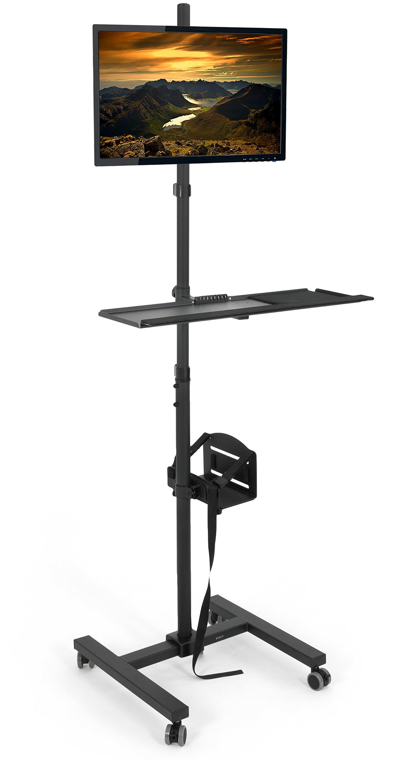 VIVO Black Computer Mobile Cart Rolling Stand | Adjustable Monitor Mount 32'' Case Holder & Keyboard Tray Moving Workstation (CART-PC02T)