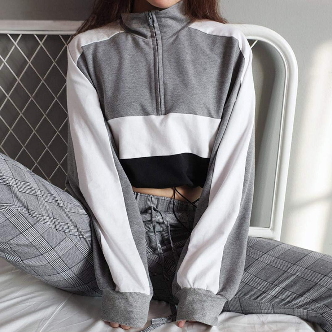 Spbamboo Women Long Sleeve Pullover Sweatshirt Blouse Zipper Crop Tops Shirt by Spbamboo (Image #1)