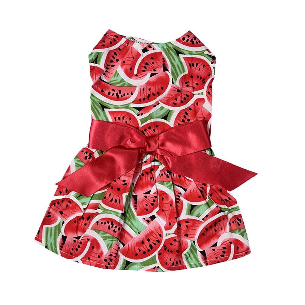Robe de Princesse pour Chiens de Taille Petite Vêtements pour Animaux de Compagnie par Awhao Pastèque Motifs S