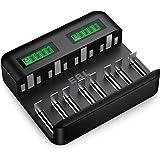EBL LCD Universal Battery Charger - 8 Bay AA AAA C D Battery Charger for Rechargeable Batteries Ni-MH AA AAA C D…