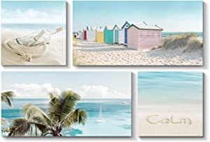 Coastal Beach Picture Wall Artwork: Seaside Seascape Painting Print on Canvas for Wall ( 12'' x 12'' x 2 Panels + 24'' x 12'' x 2 Panels )