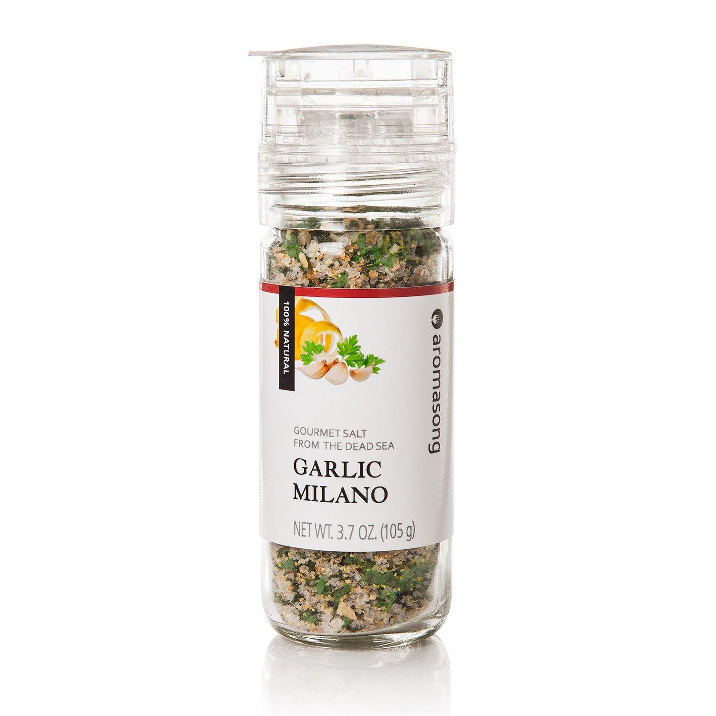 Gourmet Flavored Dead Sea Salt in Grinder, Garlic Milano, 3.5 oz by Aromasong (Image #5)