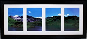 8x20 Collage Black Gallery Picture Frame with Four 4x6 Inch Openings - Wide Molding - Includes Both Attached Hanging Hardware and Desktop Easel - Display Four 4 x 6 Photos Horizontal or Vertical
