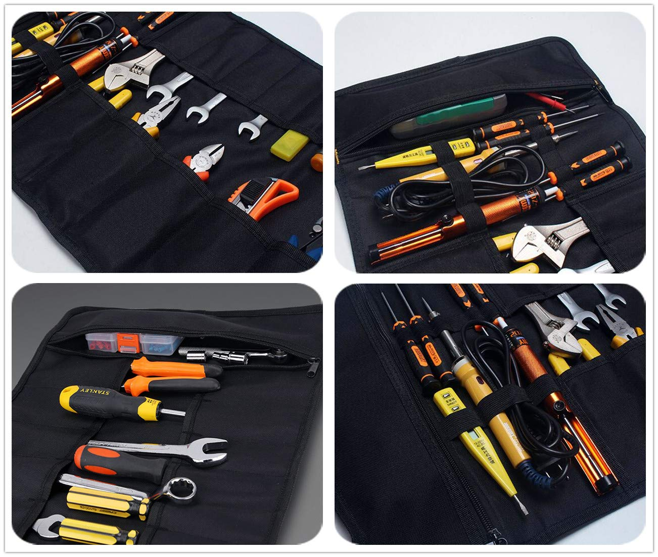 Copechilla Tool roll Canvas Professional Portable with 22 Pockets,Rubber Handle,Material Double Layer Thickening 600D Oxford,59X36CM,Roll Tool Bag for Electrician,car Mechanic,Hand Tools Organizer