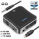 WSKY Bluetooth 5.0 トランスミッター レシーバー 受信機 送信機 一台二役 aptX HD aptX LL対応 2台同時接続 高音質 低遅延 低ノイズ RCA AUX SPDIF接続 26時間連続作動(MAX)