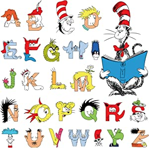 decalmile Dr. Seuss Alphabet ABC Wall Decals Letters Kids Wall Stickers Baby Nursery Children Bedroom Classroom Wall Decor