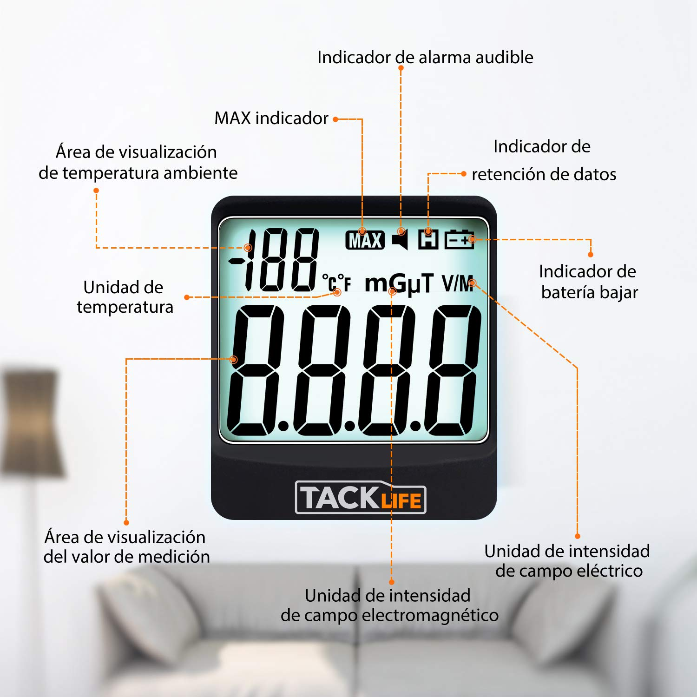 TACKLIFE Detector de Radiaci/ón Medidor EMF para Probar Radiaci/ón de Campo Magn/ético 5HZ /— 3500MHz con LCD Digital MET01 Campo El/éctrico y Temperatura Ambiente Alarma de Luz y Sonido