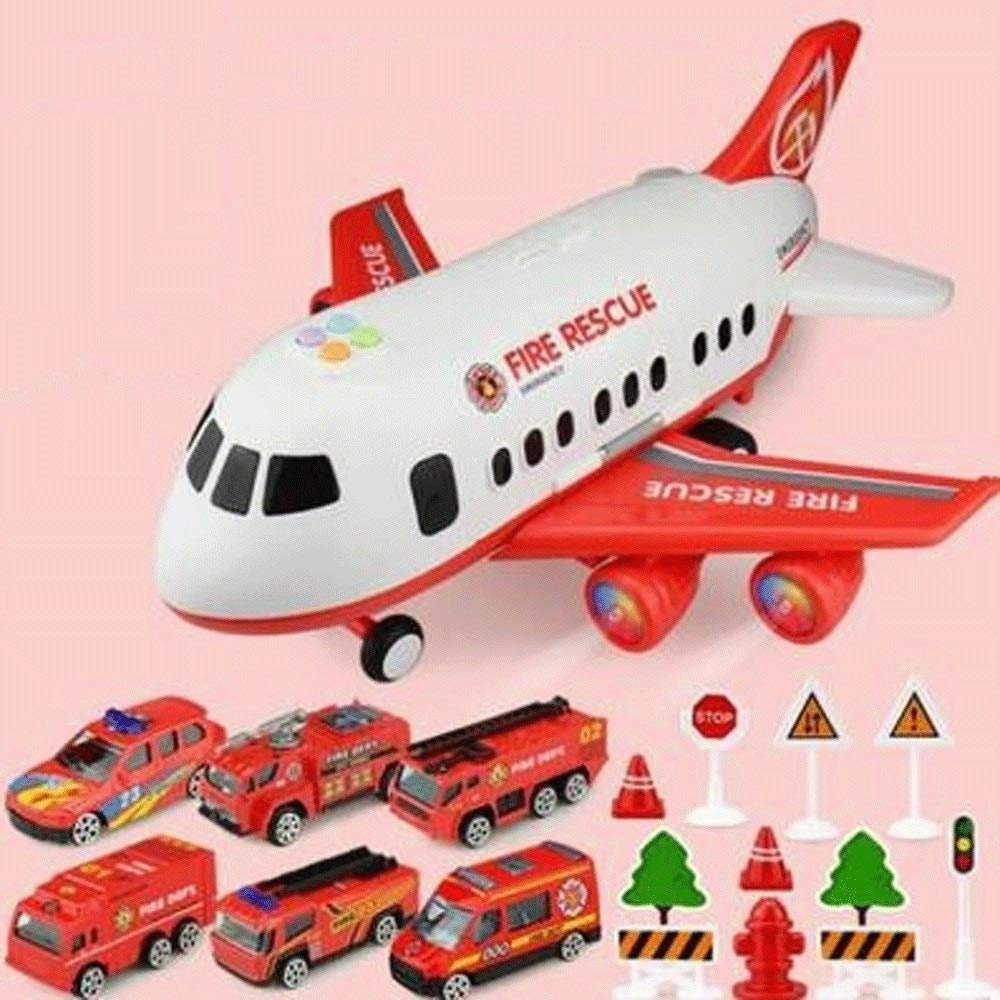 Zenghh Children's Toys Large Aircraft Simulation Orbit Inertial Music Story Simulation Passenger Aircraft Flight Storage Vehicle Model Multiplayer Game (3 Themes, 18 Sets) ( Color : Red ) by Zenghh