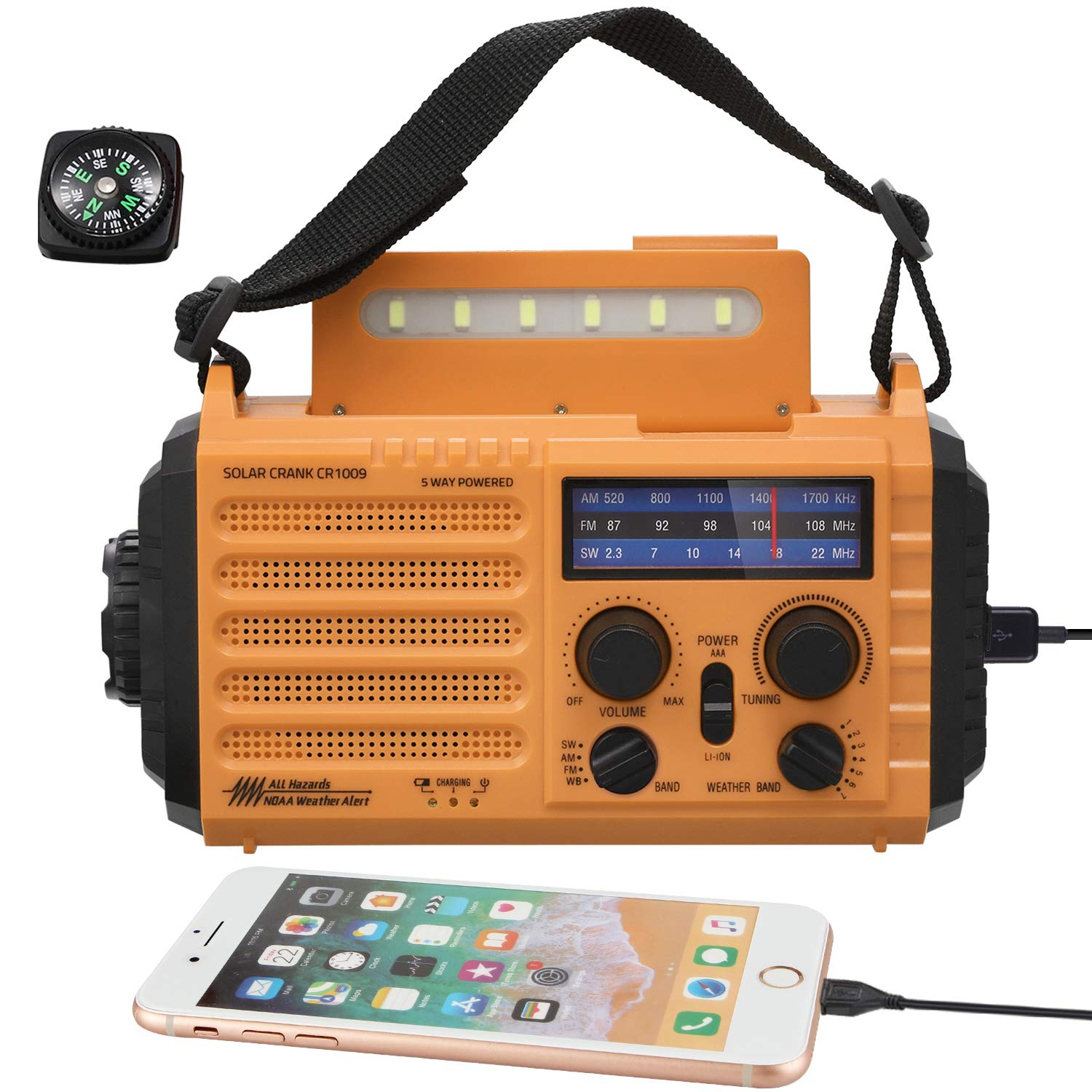 Weather Emergency Radio with 7 NOAA Weather Bands&SOS Alarm, 5-Way Powered AM FM SW Radio with 2000mAh Battery Power Bank for Cellphone USB Charger,Flashlight,Table Lamp,Compass,Hand Crank,Solar Panel by Mesqool