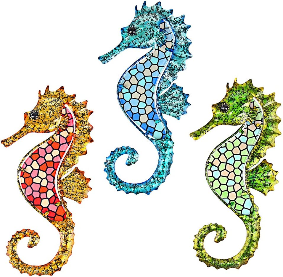 Tfro & Cile Metal Seahorse Wall Decor Bathroom Hanging Art 3 Pack Outdoor Beach Theme Decorations Blue Ocean Sculpture