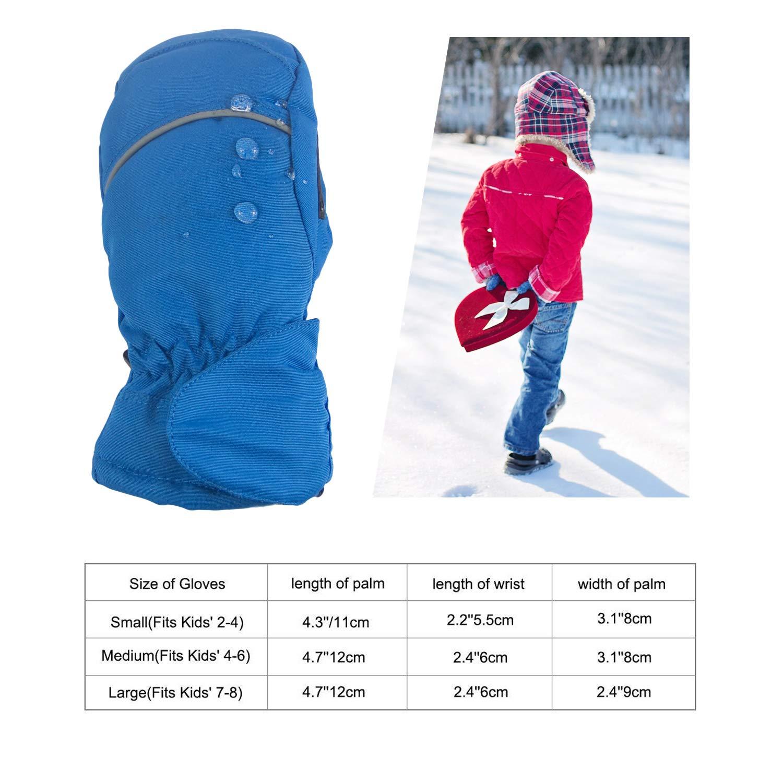 hikevalley Kids Ski Gloves Mittens Waterproof for Boys Girls Children Infant Toddlers for Skiing Snowboarding