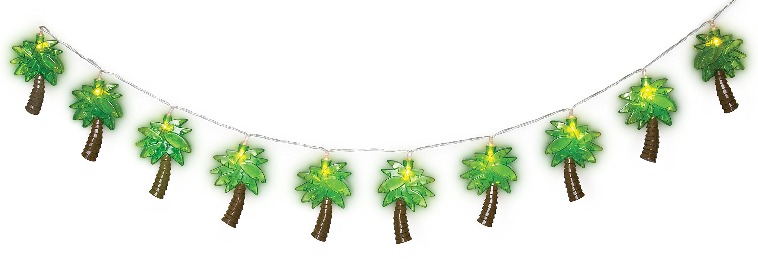 LED Palm Tree String Lights - Battery Operated Party Palm Tree Light 10 Pc Set - Home Wall Patio Deck Garden Indoor Outdoor Decor Bedroom Birthday Wedding Christmas Baby Shower Decoration