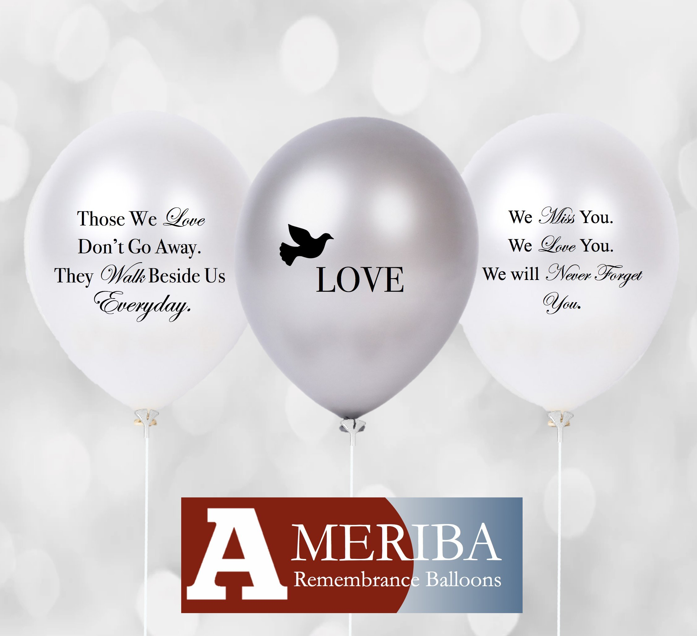 Biodegradable Remembrance Balloons: 30pc White & Silver Personalizable Funeral Balloons Plus 30 Balloon Holder Sets | Created/Sold by AMERIBA (Variety Pack, Black Writing with Sticks)