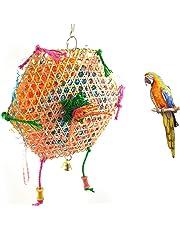 Milopon Jouet d'oiseaux en Bambou Tressé Jouet à Macher Balançoire pour Perruche Volière Amusant Compagnie