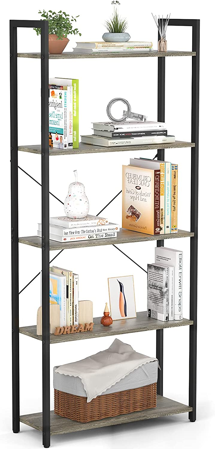 Besiture 5 Tier Bookshelf, Industrial Tall Living Room Book Shelf Storage Organizer, Metal Wood Accent Modern Simple Display Shelves for Home Office Collectibles Organization, Black Oak