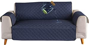 Ease Sofa Couch Cover 100% Waterproof Skidproof Sofa Slipcover Whole Piece Fabric Leather Seat Furniture Protector for Pet Children Kids Cat Dog (Loveseat, Dark Blue/Beige)