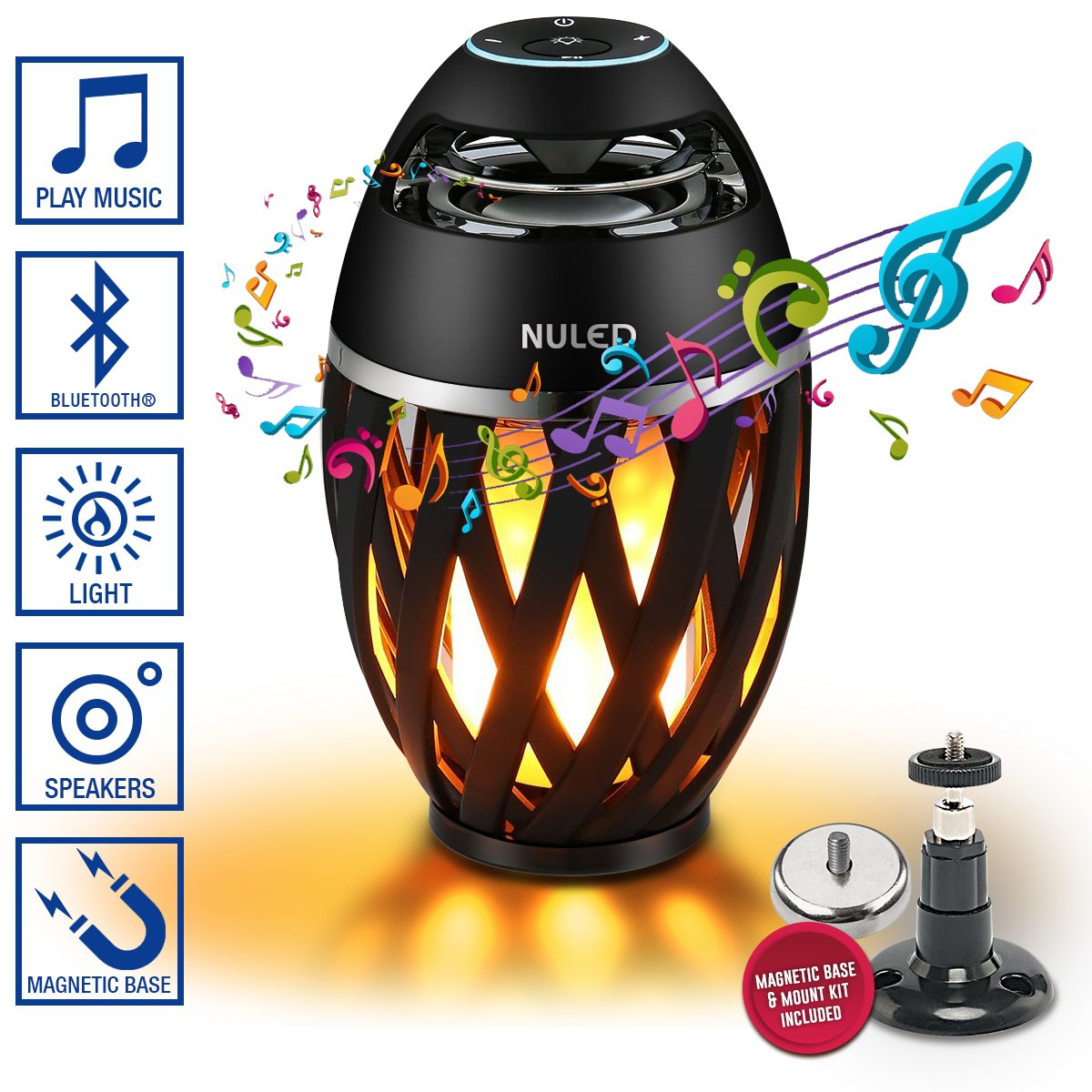 NULED Flame Speaker w. LED Atmosphere IP65 Waterproof 3600mAh Lithium Batteries Magnetic Base & Wall Mount Kit for Indoor/Outdoor Activities, Bluetooth Pair 2 for Stereo Sound