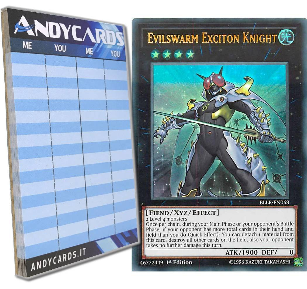 Yu-Gi-Oh! - EVILSWARM EXCITON KNIGHT - Ultra Rare BLLR-EN068 in ENGLISH + Andycards Scorepad