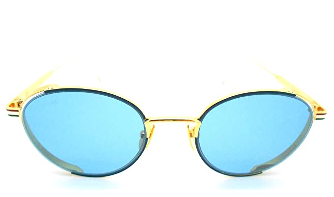 4d305327931a Thom Browne TB-106-Navy- Gold with Blue lenses Sunglasses  Amazon.ca ...