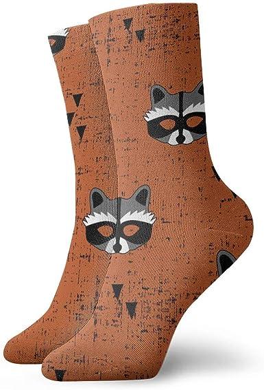 Bai Qian Máscara de mapache Quemado Orange_2575 Pintura Arte Impreso Divertido Novedad Animal Casual Algodón Calcetines de tripulación 11.8 pulgadas: Amazon.es: Ropa y accesorios