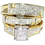Yellow Gold Trio Wedding Set Mens Women Rings Real 1/2cttw Diamonds Pave(I/j Color 0.5cttw)