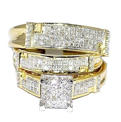 Yellow Gold Trio Wedding Set Mens Women Rings Real 1 2cttw Diamonds Pave I2