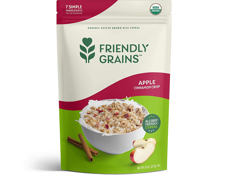 Friendly Grains – Allergy Friendly Cereal – Gluten Free – Vegan – Organic Breakfast– Apple Cinnamon Crisp