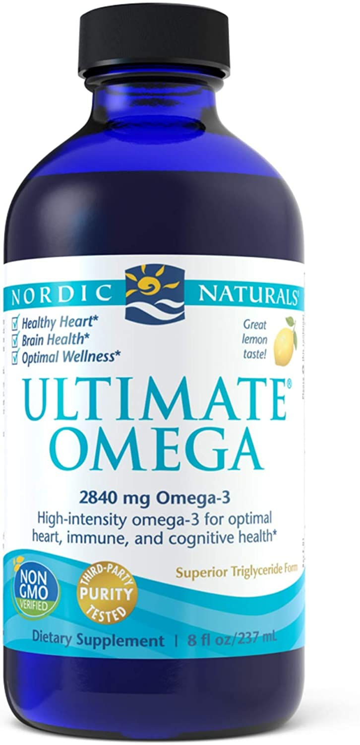 Nordic Naturals Ultimate Omega Liquid, Lemon Flavor - 2840 mg Omega-3 - 8 oz - High-Potency Omega-3 Fish Oil Supplement with EPA & DHA - Promotes Brain & Heart Health - Non-GMO - 48 Servings