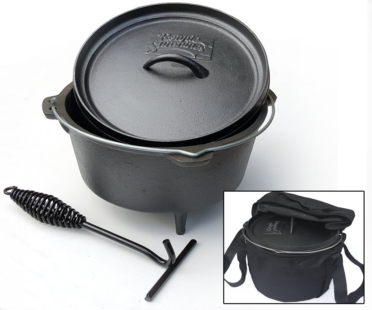 Dutch Oven - 8ltr - Cast Iron Camp Cooking Pot - Unique Non Slip Handle - Includes Free Carry Bag